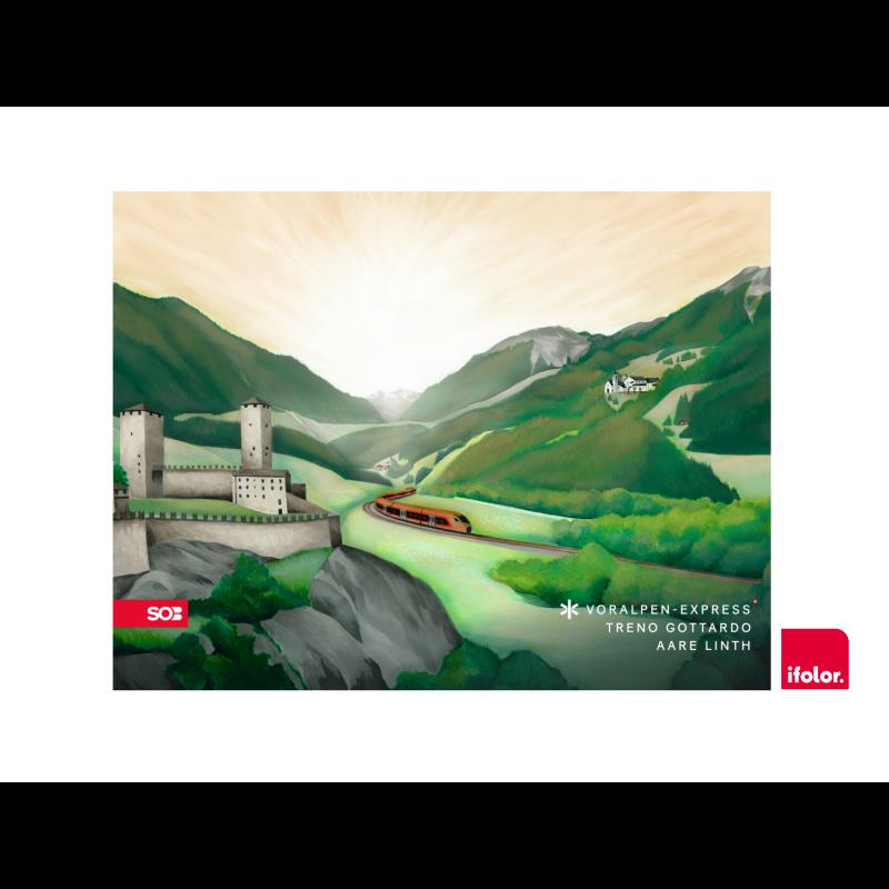 Fotoleinwand «Bellinzona» mit SOB-Logo 100 x 75 cm